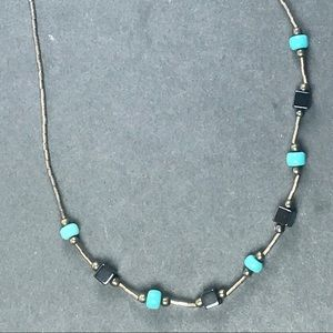 Vtg choker turquoise hematite  silver necklace